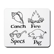 Conch, specs, fire, pig Mousepad