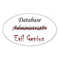 """DB Evil Genius"" Oval Decal"