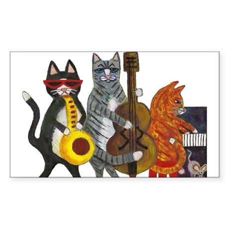 Jazz Cats Sticker (Rectangle 50 pk)
