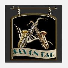 Sax On Tap Pub Sign Tile Coaster
