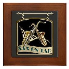 Sax On Tap Pub Sign Framed Tile