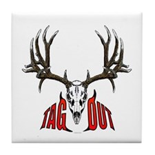 Mule deer tag out Tile Coaster