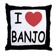 I heart banjo Throw Pillow