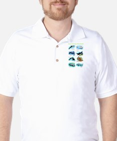 Ocean Animals of the World Golf Shirt