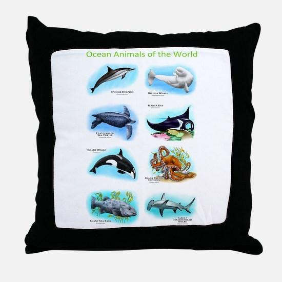 Ocean Animals of the World Throw Pillow