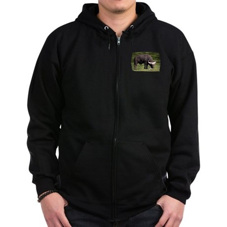 Cape Buffalo Eating Zip Hoodie (dark)