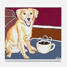Golden Coffee Dog Tile Coaster