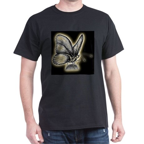 Gold Neon Butterfly Black T-Shirt
