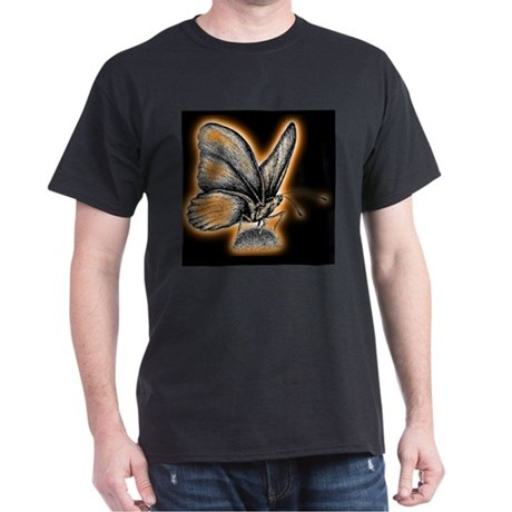 Orange Neon Butterfly Black T-Shirt