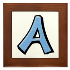 Silly Letter A blue Framed Tile