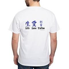 White Life Love Tattoo Kanji T-Shirt