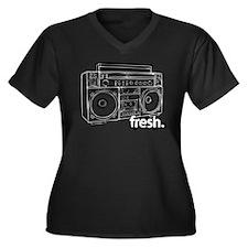 FRESH BOOMBOX Women's Plus Size V-Neck Dark T-Shir