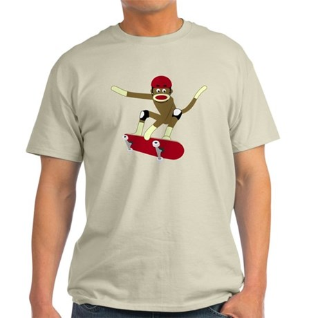 Sock Monkey Skateboarder Light T-Shirt