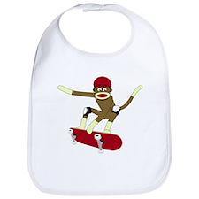 Sock Monkey Skateboarder Baby Bib