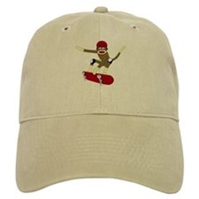 Sock Monkey Skateboarder Baseball Cap