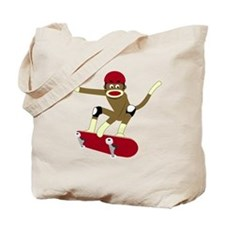 Sock Monkey Skateboarder Tote Bag