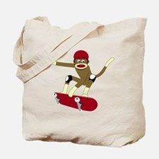 Sock Monkey Skateboarder Tote Bag