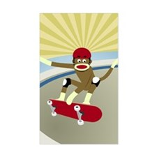 Sock Monkey Skateboarder Decal