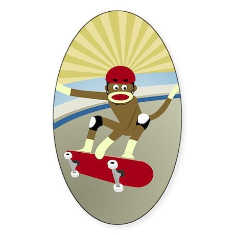 Sock Monkey Skateboarder Sticker (Oval)