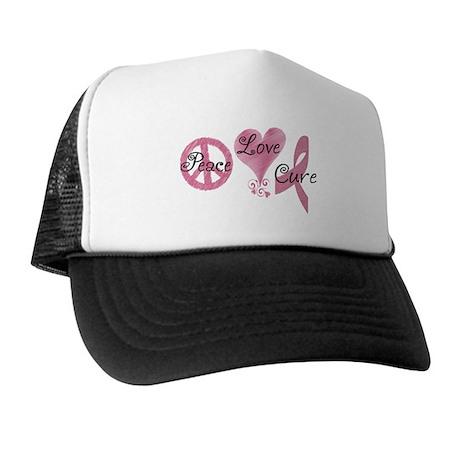 Peace Love Cure (Pink Ribbon) Trucker Hat