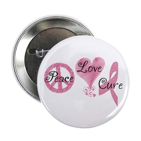 "Peace Love Cure (Pink Ribbon) 2.25"" Button"