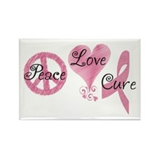 Peace Love Cure (Pink Ribbon) Rectangle Magnet (10