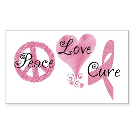 Peace Love Cure (Pink Ribbon) Sticker (Rectangle)