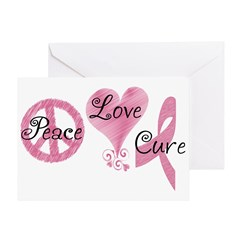Peace Love Cure (Pink Ribbon) Greeting Card