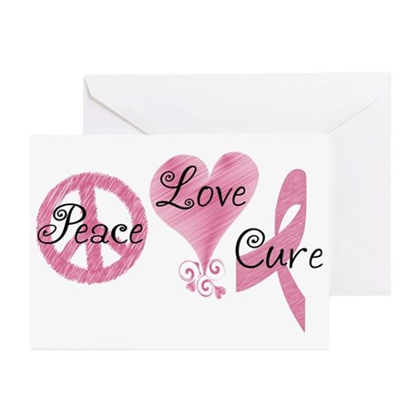 Peace Love Cure (Pink Ribbon) Greeting Cards (Pk o