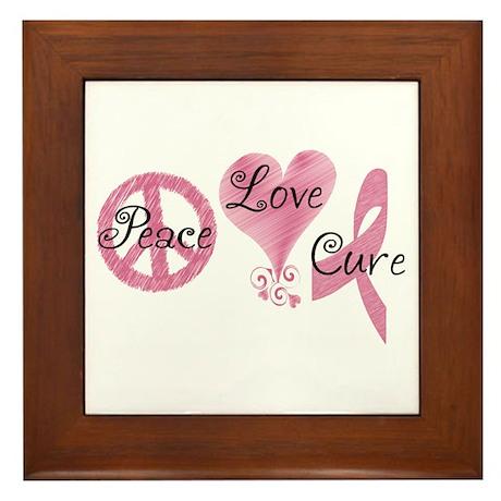 Peace Love Cure (Pink Ribbon) Framed Tile