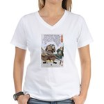 Japanese Samurai Warrior Nagamasa Women's V-Neck T