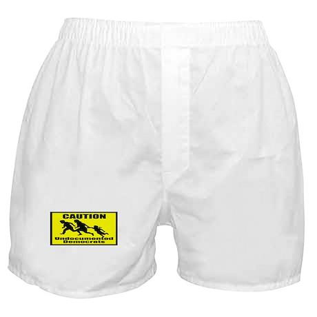 Caution Undocumented Democrat Boxer Shorts