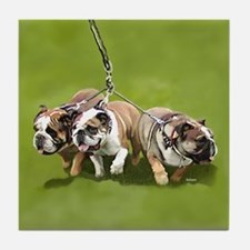 Bulldogs Butts Coming and Going Tile Coaster