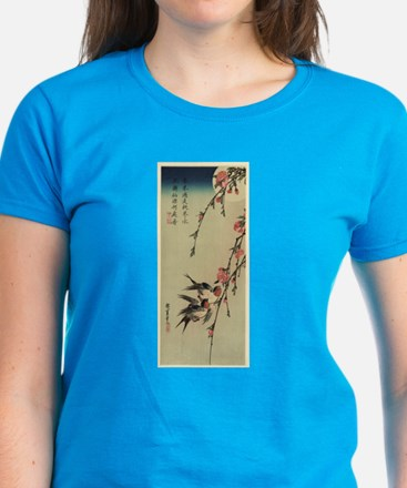 Hiroshige Swallows and Peach Blossoms Tee