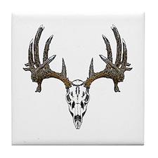 Whitetail deer skull Tile Coaster