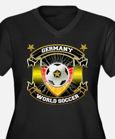 Germany World Soccer Women's Plus Size V-Neck Dark