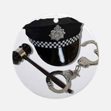 Handcuffs Gavel Police Hat Ornament (Round)