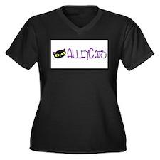 Funny Bowl Women's Plus Size V-Neck Dark T-Shirt
