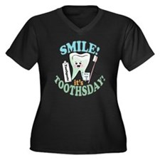 Smile It's Toothsday! Women's Plus Size V-Neck Dar