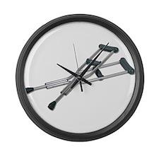 Metal Crutches Large Wall Clock
