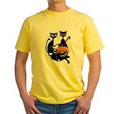 Halloween cat Mens Classic Yellow T-Shirts