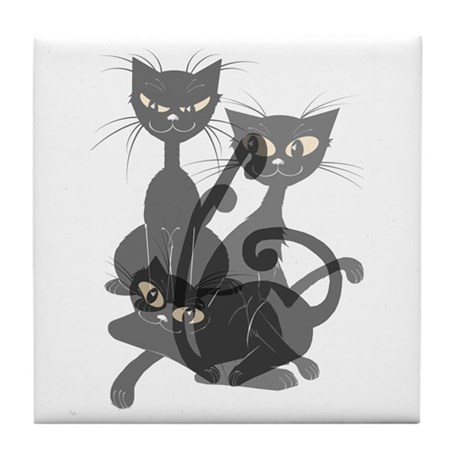 Three Transparent Black Cats Tile Coaster