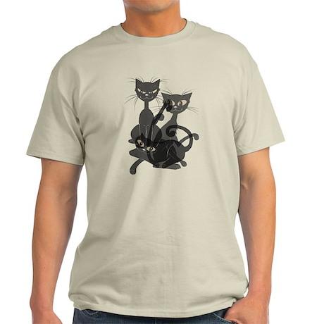 Three Transparent Black Cats Light T-Shirt