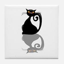 Single Black Kitty Tile Coaster