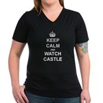 """Keep Calm And Watch Castle"" Women's V-Neck Dark T"