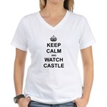 """Keep Calm And Watch Castle"" Women's V-Neck T-Shir"