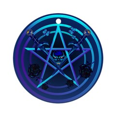 Blue Pentagram and Daggers Ornament (Round)
