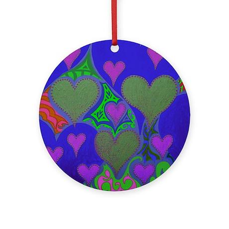 Raining Hearts PInk & Purple Ornament (Round)