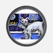 White Schnauzer senses smilin Wall Clock