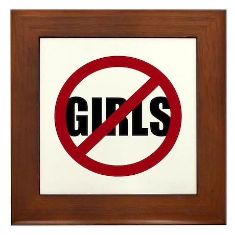 No Girls Framed Tile